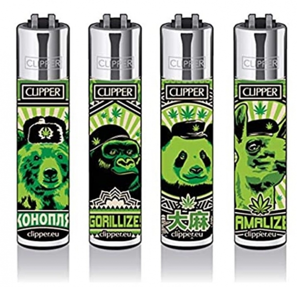 "Clipper Classic Original (CP11) Feuerzeug Serie ""420 ANIMALS"" Collection 4 Stück (4X)"