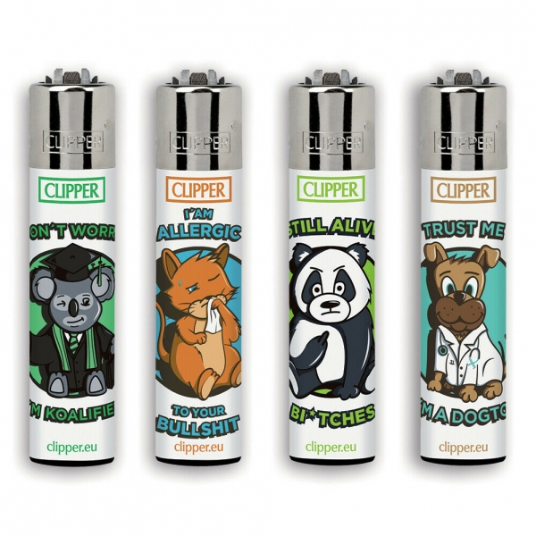 "Clipper Classic Original (CP11) Feuerzeug Serie ""Animals Sentences 3"" Collection 4 Stück (4X)"