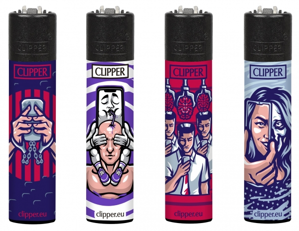 "Clipper Classic Original (CP11) Feuerzeug Serie ""Digital World"" Collection 4 Stück (4X)"
