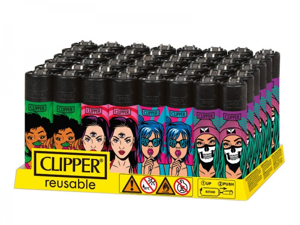 "Clipper Classic Original (CP11) Feuerzeug Serie ""Girlz"" Collection 4 Stück (4X)"