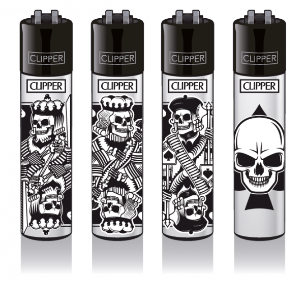 "Clipper Classic Original (CP11) Feuerzeug Serie ""SKULL CARDS"" Collection 4 Stück (4X)"