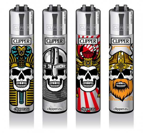 "Clipper Classic Original (CP11) Feuerzeug Serie ""SKULLS 15"" Collection 4 Stück (4X)"