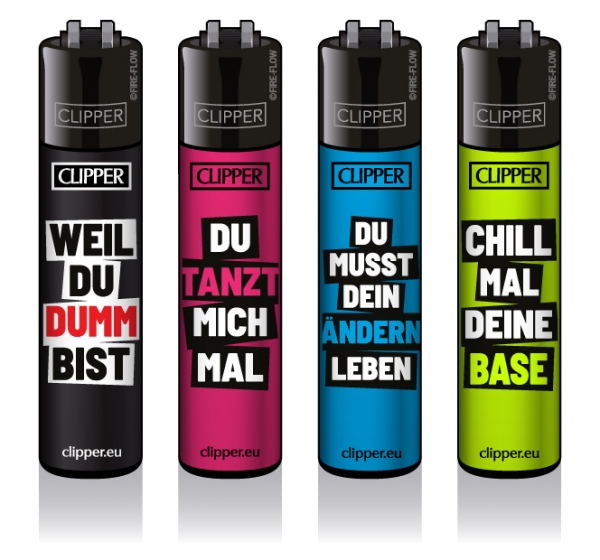 "Clipper Classic Original (CP11) Feuerzeug Serie ""SLOGAN 18"" Collection 4 Stück (4X)"