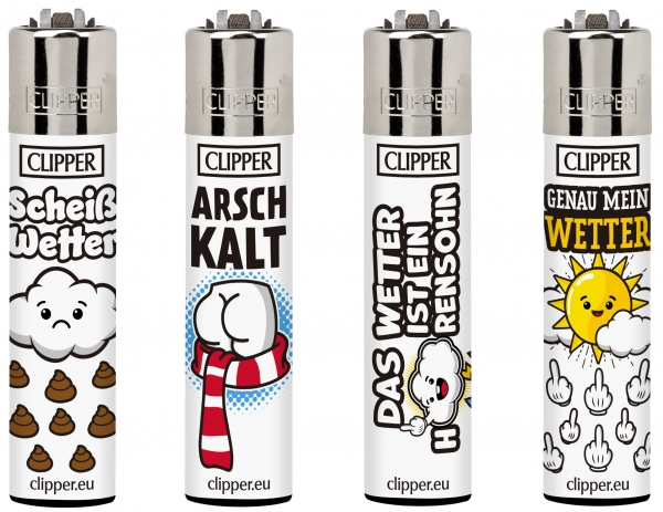 "Clipper Classic Original (CP11) Feuerzeug Serie ""SLOGAN 25"" Collection 4 Stück (4X)"