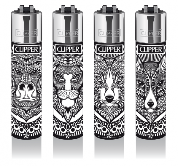 "Clipper Classic Original (CP11) Feuerzeug Serie ""TATTOO ANIMALS"" Collection 4 Stück (4X)"