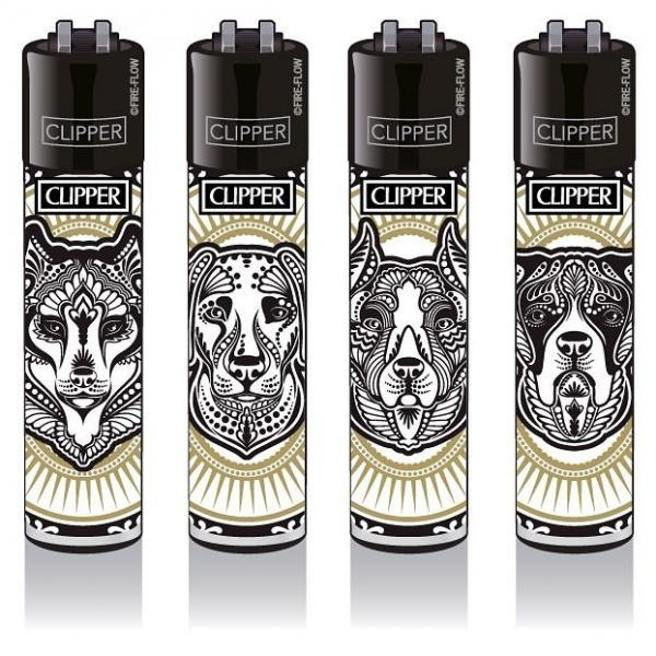 "Clipper Classic Original (CP11) Feuerzeug Serie ""TATTOO DOGS"" Collection 4 Stück (4X)"