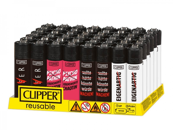 "Clipper Classic Original (CP11) Feuerzeug Serie ""SLOGAN 26"" Collection 4 Stück (4X)"